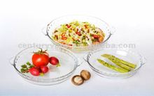 wholesale round clear pyrex glass plate with for microwave cooking