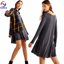 Wholesale custom women autumn simple casual long sleeve soft pleated knit dress