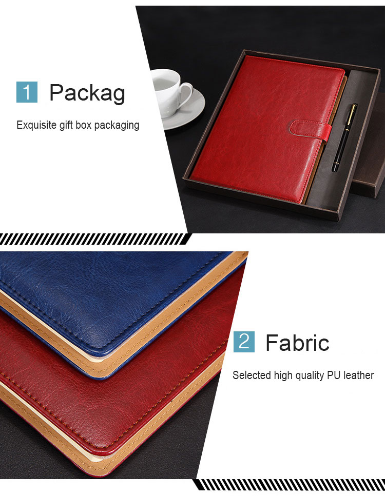 Festival custom luxury business gift leather a5 notebook set with pen