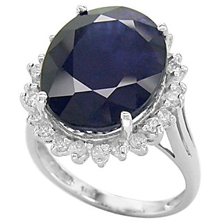 Fine Quality 16.75 ct Sapphire & Diamond Ring 14kt Gold