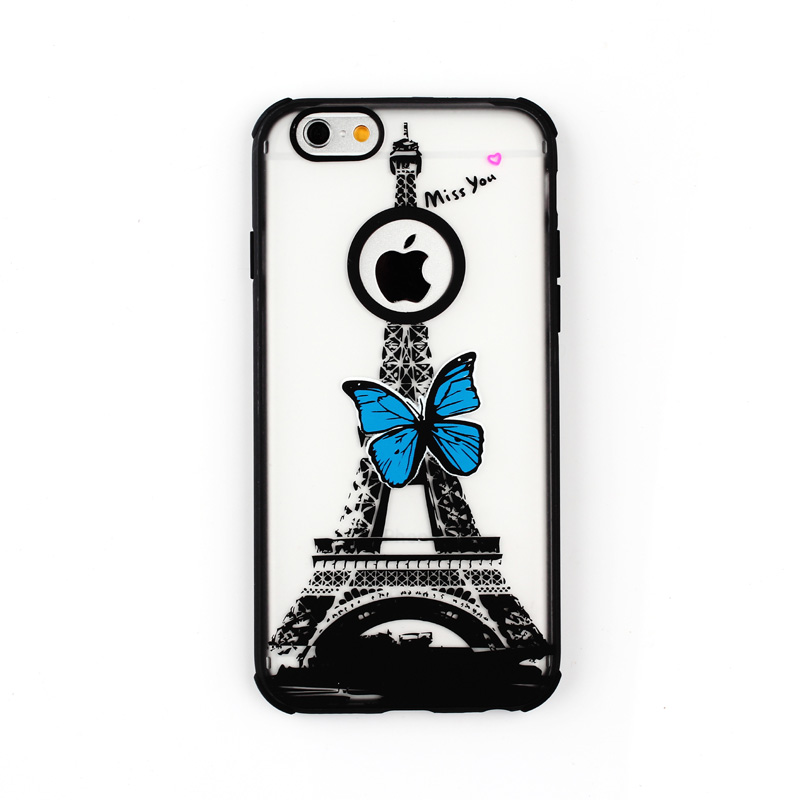 Hot Selling For Apple iPhone 4 4S 5 5S Butterfly Tower TPU Pattern Hard Edge Case for iphone 4s Cover Promotion New Arrival