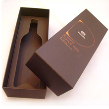 Brown Wine Bottle Packaging Cardboard Box with Gold Hotstamped Logo