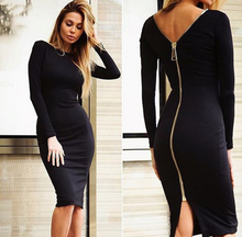 DL20123E 2017 women dresses long sleeve to knee tight women sexy dress