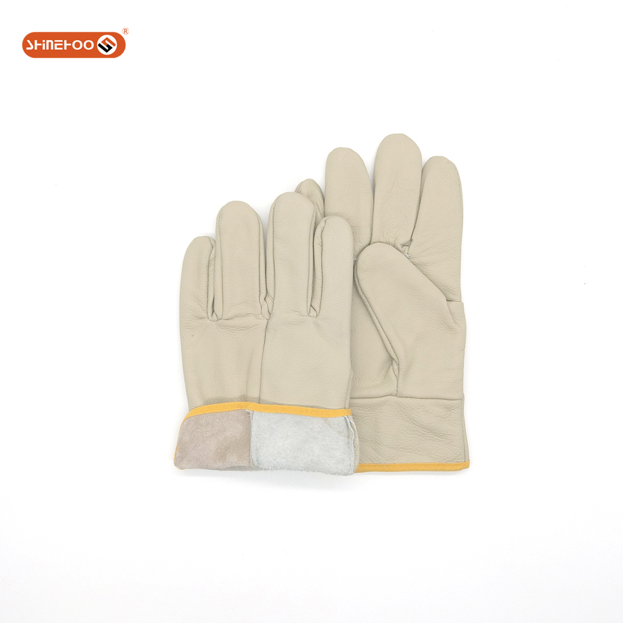 SHINEHOO Genuine Truck Driver Safety Gloves Cow Leather