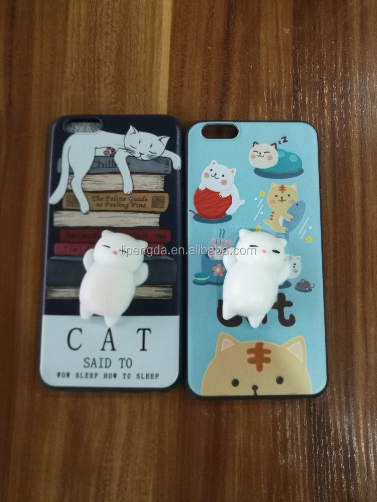 2017 new design cat 3D kneading cartoon workmanship pretty phone case for iPhone