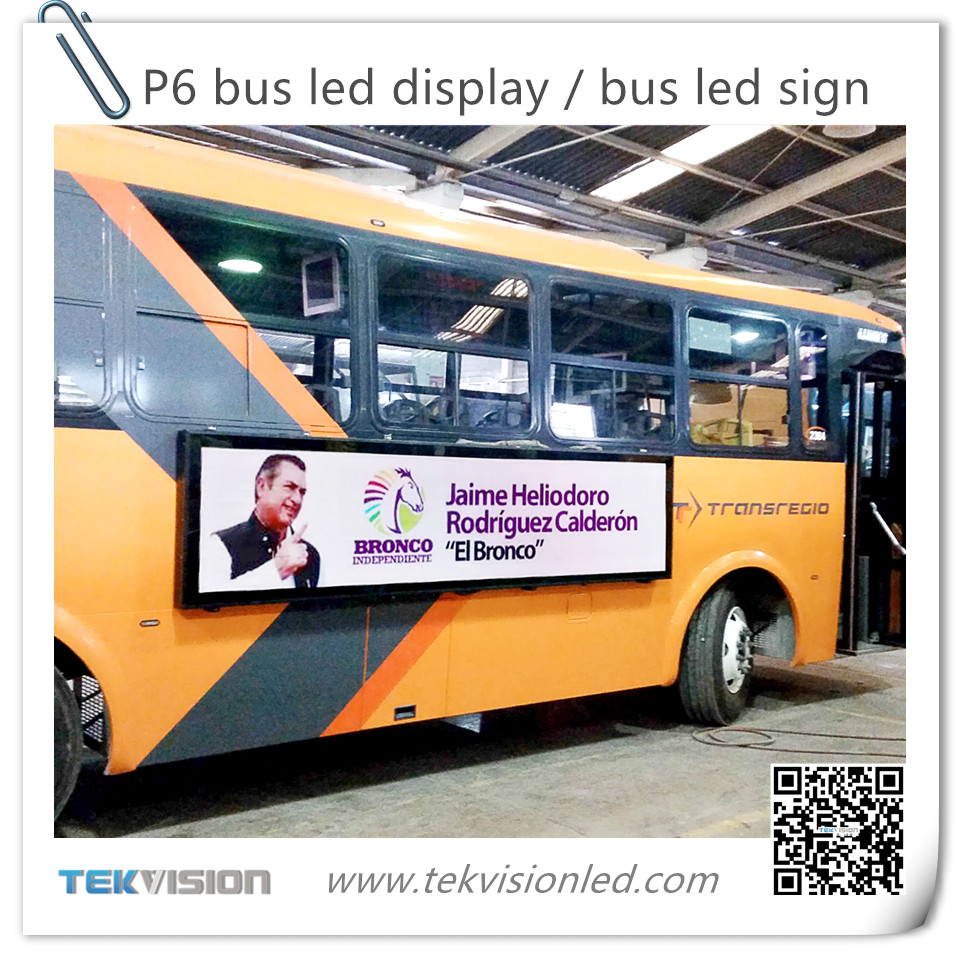 6mm Pixels and Video Display Function bus led display, bus led sign