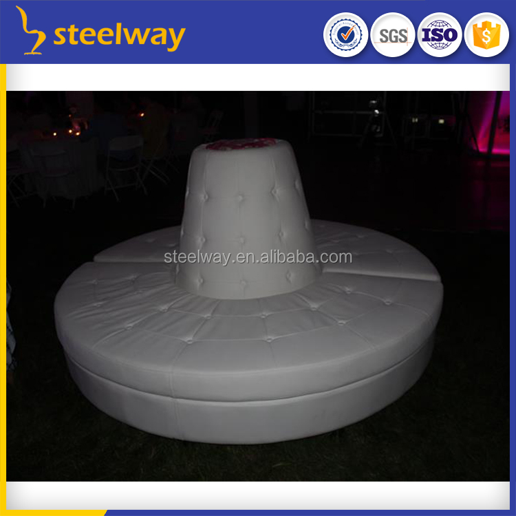 white leather halo curved circular tufted sofa