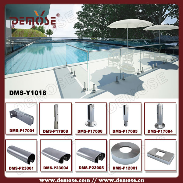 stainless steel clamp/glass swimming pool spigot