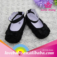 Hot sale new arrival red and black with bowknot crib shoes for baby