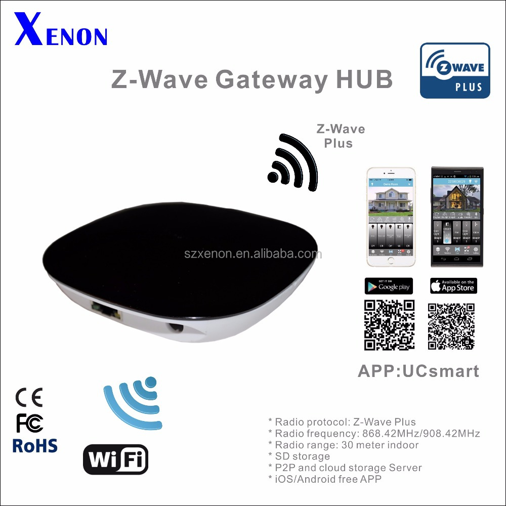 Xenon ZWave Plus smart home automation gateway WiFi wireless 868.42MHz 908.42MHz day night IR LED APP hub switch