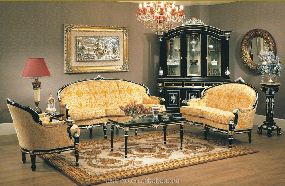 European Palace Style Golden Wood Carved Sectional Living Room Sofa Set, Luxury Elaborate Noble Design Sofa Set