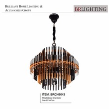 Hot unique design contemporary rod clear black metal glass chandelier pendant lamp for home hotel