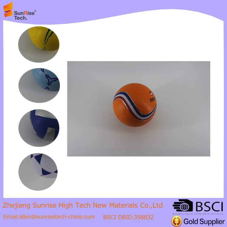 Inflatable releasing anti stress pu foam ball, soft pu sports ball manufacturer