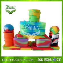 Non-Stick Food Grade Silicone Dab Containers Set Wax Oil Container, 2ml Multi Use Storage Jars, Assorted Colors