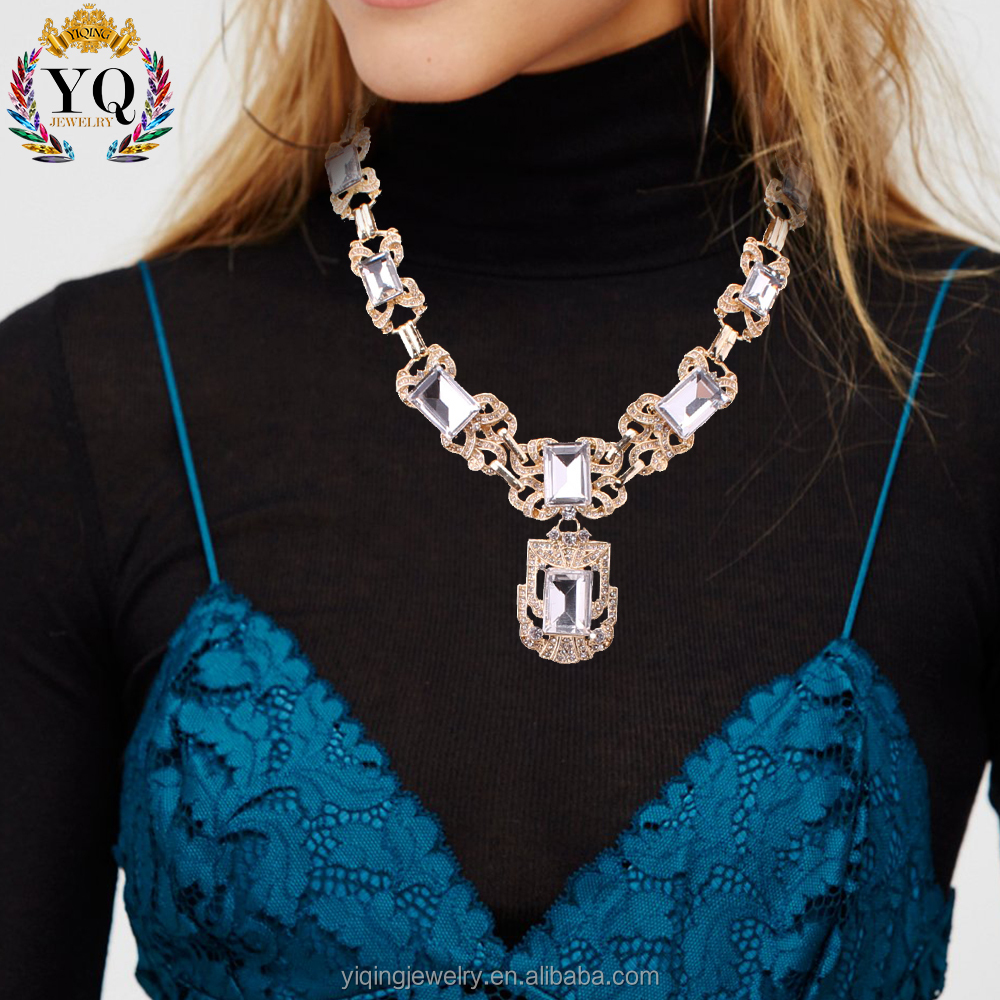 NYQ-00565 factory price unique fashion big square crystal rhinestone main stone golden antique silver statement necklace