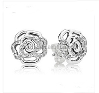 925 sterling silver 2016 fashion cz paved fancy rose stud earring for teens