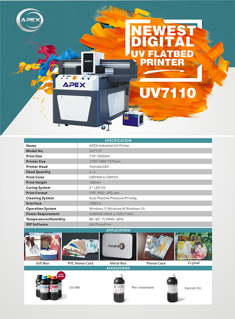 APEX UV7110 large format UV printer for batch production with durable printer head