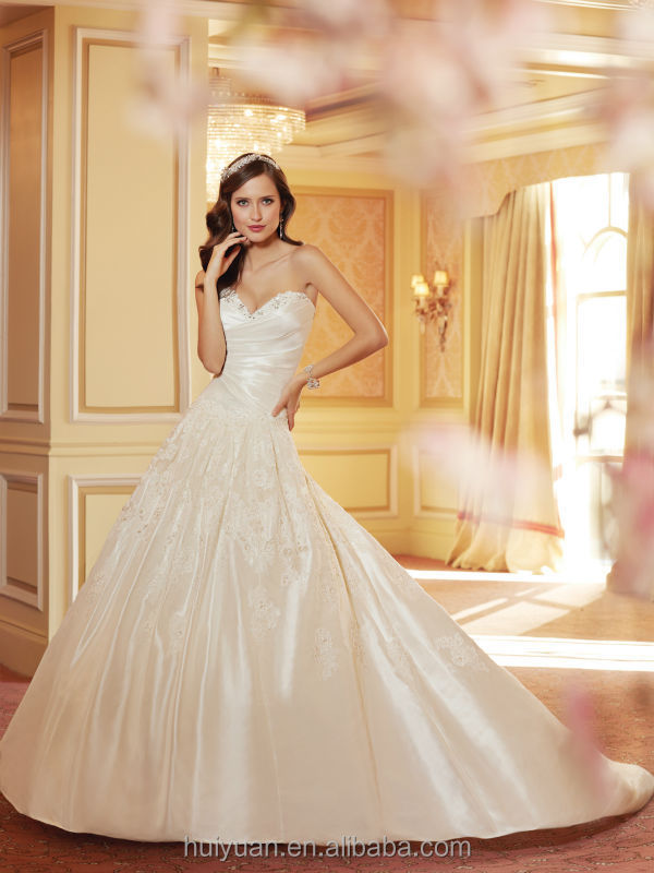 high quality champagne lace ball gown sleeveless 2012 new model wedding dress