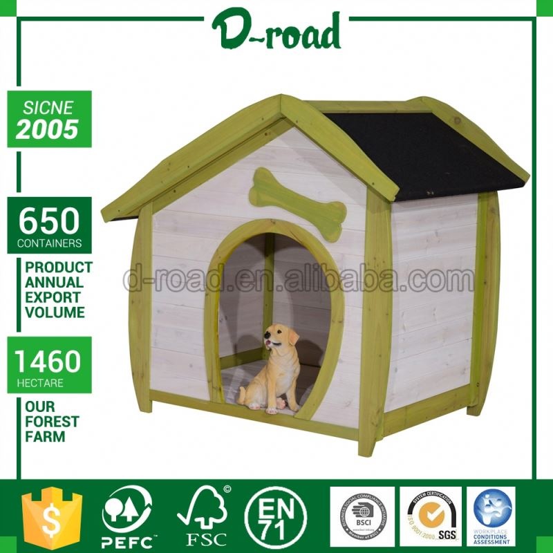 Factory Price 3D Custom Solid Wood Modern Dog House For 2 Dogs