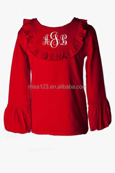 The factory price blank baby long sleeve t-shirts wholesale,baby doll Ruffle t shirts wholesale