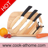 New advanced ceramic kitchen knife set with peeler good quality wood block