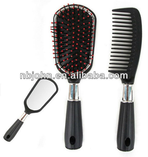 plastic comb hair brush with mirror set