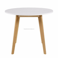 scandinavian solid wood round birch Dining Table with White MDF top