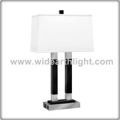 UL CUL Listed White Fabric Square Shade Table Light For Hotel King Room With Outlet T40592