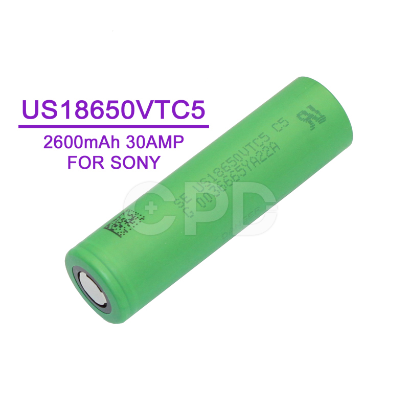 For sony 18650 vtc5 lithium ion rechargeable battery US18650VTC5 2600mah battery for e cigarette