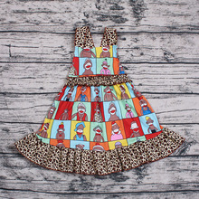 Bulk wholesale baby gril backless halter dresses clothes with picture and cheetah