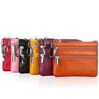 Wholesale korean mini genuine leather zipper keychain coin purse wallet