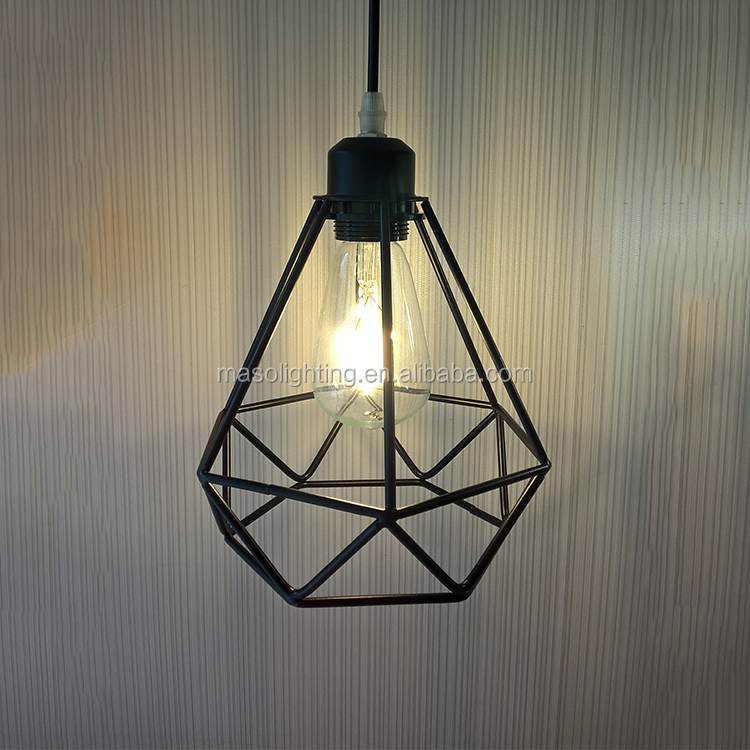Indoor hanglamp LED wholesale lamp kits industrial chandelier diamond shade iron pendant lamp