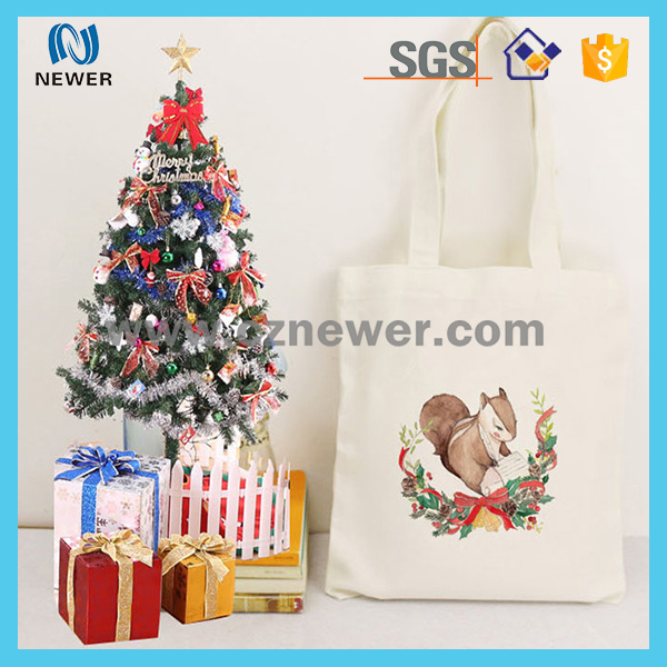 Custom theme of Christmas lovely logo printed cotton canvas tote bag