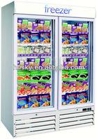 2 glass door vertical display visi freezer showcase