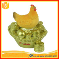 Custom small imitation gold chicken animal statue figurines sculpture for sale