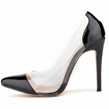 Fashion Women Pumps Sexy Patent Leather Perspex Transparent High Heels Women Dresses Shoe