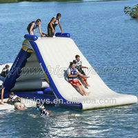 Outdoor exciting inflatable lake inflatable water slides for sale