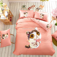 3D Printed Pink duvet cover set golden dog and cat bedding set 4pcs for queen size bed sheet linen bedclothes quilt