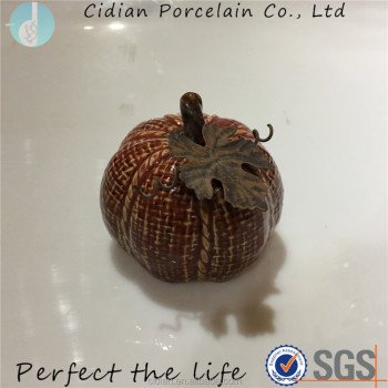 Small Ceramic pumpkin with metal leaf