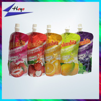 New 2014 custom printed plastic fruit juice packaging bag