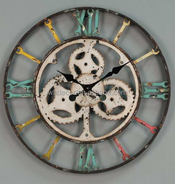2015 Colorful vintage rustic Oversize wall clock, Country Style Wall Clock,Machine style Wall Clock
