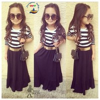 Kids Dress Hot Sale Long Sleeve Black And White Stripe Dress Evening Dress With Belt