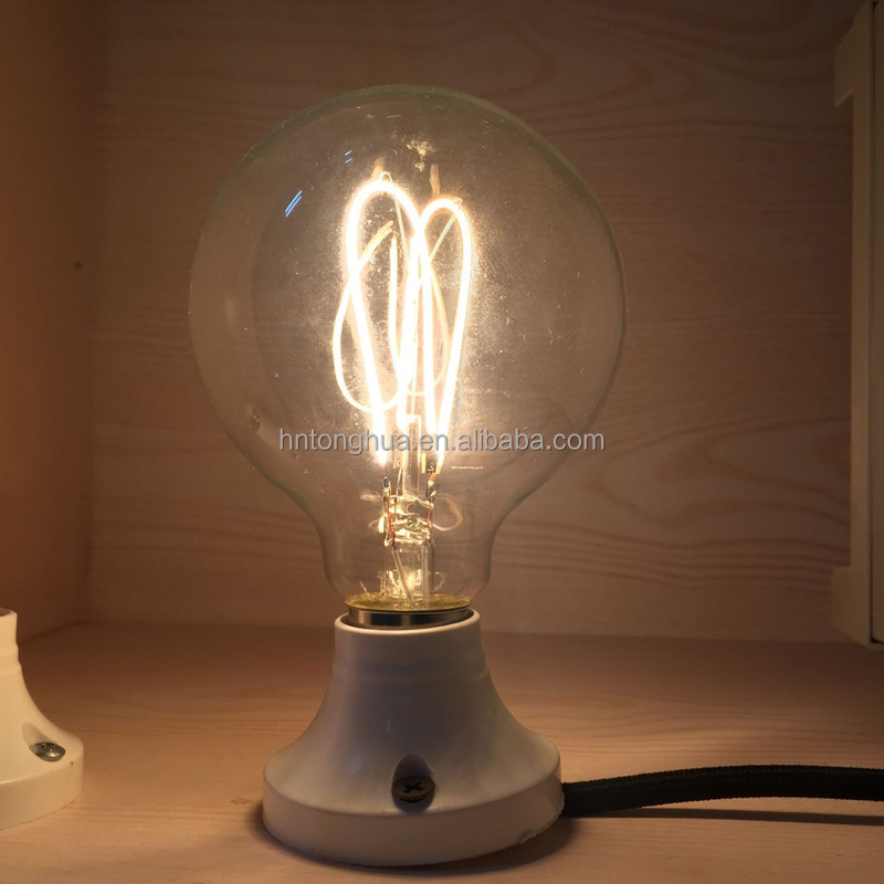 G95 Edison bulb LED E27 220V 4W Vintage LED Soft Filament Light Bulb Amber Clear