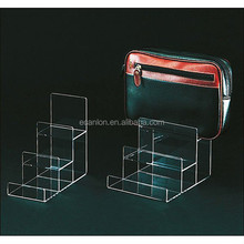 Tiered acrylic display handbag or wallet rack
