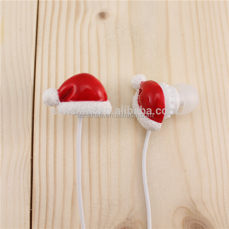 Hot Sale Christmas Gift 3D Cartoon Christmas Santa/Hat/Gloves/Shoes ABS In-Ear Earphone For Kid