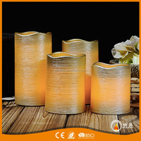 Paraffin Wax Scratching Area Mental Oil Painting Pillar Led Candle Light