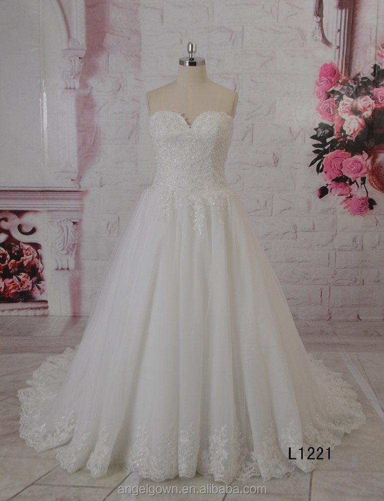 Hot Sale ruffle organza floor length modren a line plus size wedding dresses and sweetheart