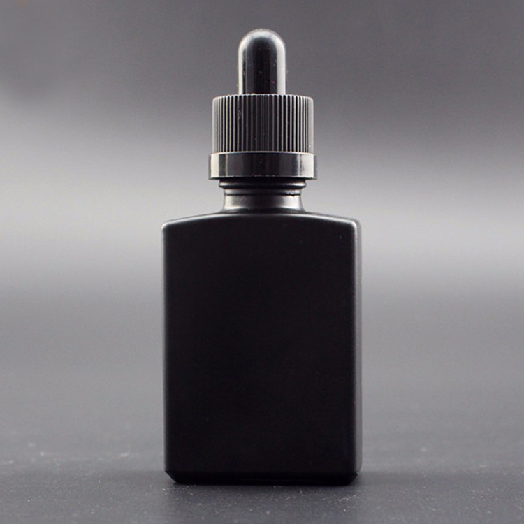 wholesale 30ml 50ml 100ml matte black rectangle glass dropper bottles for beard oil