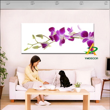 Digital Printed Purple Flower Painting On Canvas Printed butterfly orchid flower Painting Art Prints on Canvas unframed painting