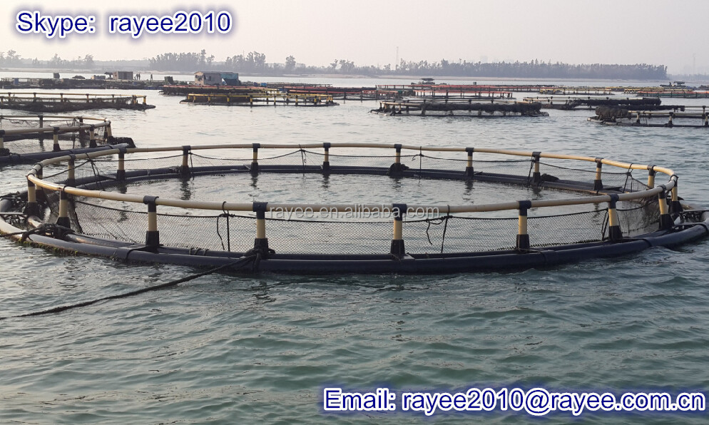 HDPE pipes fish farms equipment floating farming fishing net cage for carp
